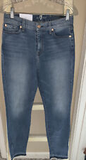 SEVEN 7 FOR ALL MANKIND HIGH WAIST ANKLE SKINNY Super Skinny Fade Wash JEANS 28