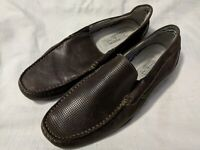 Ocean & Coast Brown Textured Leather Loafers Slip-On Casual Shoes Size 8.5 M