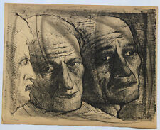 1955 René-Jean CLOT Lithographie originale en noir 1/200 Trois Figures Enfer