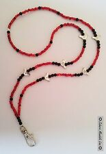 ID Badge Holder HANDMADE Beaded Lanyard Fashion Necklace Silver Birds Red/Black