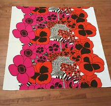 Vintage Mod Tablecloth Large Scale Pansy Basket Design 35 X 57 In. Orange Pink