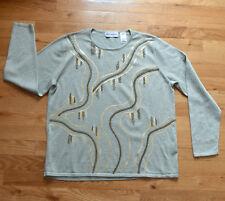 EUC! alfred dunner green, gold metallic sequin beads sweater (M)
