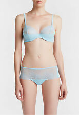 La Perla Lace Flirt Collection 34E L Full Cup Bra Boyshort Set Blue 34DD New