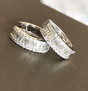 18ct White Gold Diamond Earrings 1ct Hoops Huggies Hallmarked