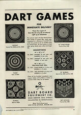 1944 PAPER AD Dart Board Equipment Co Games Baseball Bowling Target