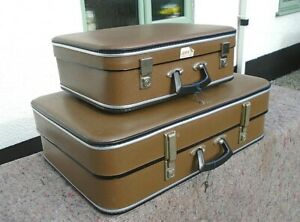 Pair Vintage Graduated Faux Leather Suitcases Lock Key Hand Luggage Prop Display