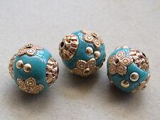 3  Aqua Gold 15x14mm Handmade  Indonesia Beads(D19K)