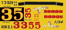 #3 Don White 1969 Dodge Charger 1/64th HO Scale Slot Car Waterslide Decals