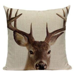 Christmas Cushion, Deer Cushion Cover. Reindeer cushion, Cotton Canvas