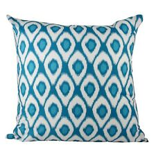 One Duck Two Ikat Turquoise cotton cushion cover 45 x 45