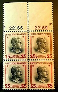 US Stamps # 834 Plate Block of 4 MNH Calvin Coolidge $5.00 Issue
