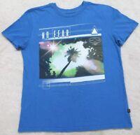 Medium No Fear Blue White Cotton Men's Crewneck Tee T-shirt Short Sleeve Man Top