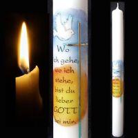 Kommunionkerze Taufkerze 400/35 von Hand verziert - Kreuz mit Taube und Spruch