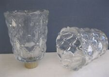 PARTYLITE ~ (2) QUILTED CRYSTAL PEGLITES candle holders glass votive cups