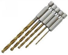 5pc Hss Titanio recubiertos vástago hexagonal Madera Metal Drill Bit Set 4,8 4 3.2 2,5 1,5 mm