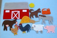 """Big Red Barn"" handmade felt/ flannel board set LOOK"