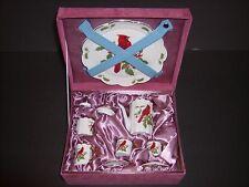 Vintage Tea Set Child Size Doll Size Pink Velvet & Satin Case