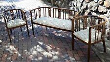 Antique Edwardian Oak(?) Salon Suite - Sofa and 2 Chairs, Elegant