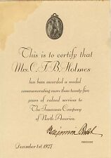 1927 Insurance Company of North American award to Mrs Holmes 25 years service