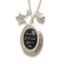WIZARD OF OZ locket Someday I'll wish upon a star necklace charm heart dorothy