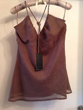 BNWT Taupe sparkly beaded halter neck top by B. Young, size L. Tag price £39.99