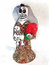 DAY OF THE DEAD SKELETON  FIGURE - WOMAN WITH BABY AND FLOWERS-  MEXICO