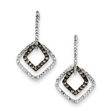 Platinum Sterling Silver Champagne Diamond & Diamond Dangle Post Earrings Gift