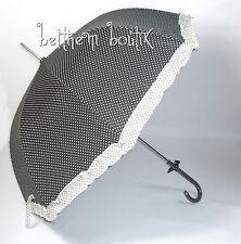 Goth : Parapluie Cloche & Canne GRIS à Pois Blanc Noeud Manga Lolita Gothique