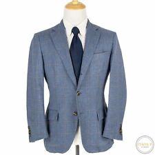CURRENT Loro Piana Blue Grey Baby Cashmere Hopsack Windowpane 3/2 Jacket 40S