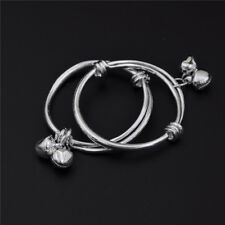 2pcs Baby Kids Bell Bracelet Newborn 925 Plated Silver Bracelet High Quality HJ