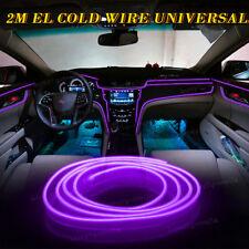 2M Purple EL Wire Interior Decor Fluorescent Neon Cold Strip light Fit Chevy