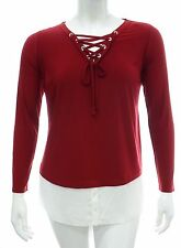 Stretch Red Top Laced Silver Islets Neckline Chiffon Contrast Border Hem *LICK*