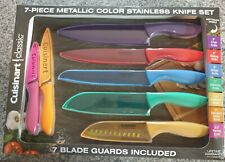 Cuisinart 7-piece Metallic Color Stainless Knife Set w/ Matching Blade Guards.