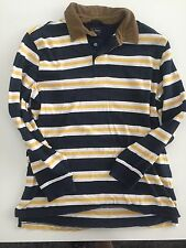 L.L. BEAN Mens Striped Navy Yellow Polo Rugby Shirt Corduroy Collar Size Large