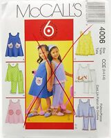 Girls Summer Play Date Dress Top Pants Pattern 4006 Size 3 4 5 6 McCalls New
