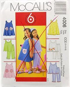 Girls Summer Play Date Dress Top Pants Pattern 4006 Size 3 4 5 6 McCalls New