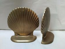 06 Solid Brass Clam Sea Shell Bookends ~ Excellent Used Condition