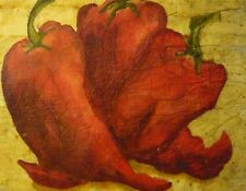 Pepper Kitchen Painting Original Watercolor Batik on Rice Paper, 13x17 in