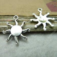 20x Tibetan Silver Flower Sun Pendant Charms Beads Dangle Jewelry Making 539AF