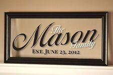 Personalized Family Name Picture Frame Sign Plaque 11x21 Mason