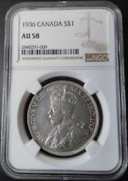 :1936 SILVER DOLLAR GEORGE-V S1$ CANADA KM# 31 LOW-POP NGC AU-58 HIGHEST-GRADES