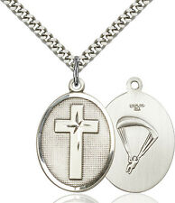925 Sterling Silver Cross Paratrooper Military Soldier Catholic Medal Necklace