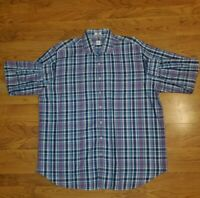 Peter Millar Men's Button-Down Purple Blue Plaid Cotton Shirt Size 2XL EUC