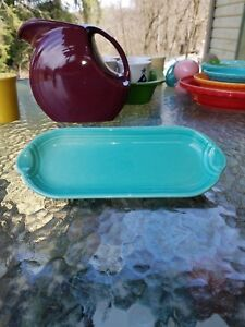 NEW FIESTA WARE utility relish corn on the cob TRAY turquoise blue