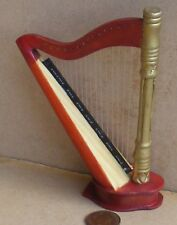 1:12 Scale Brown Nonworking Wooden Harp Tumdee Dolls House Miniature Instrument