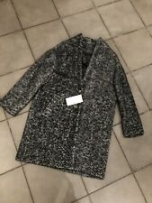 Zara Wool & Mohair Blend Herringbone Oversized Coat Size L UK14 Bnwt