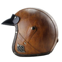 DOT Brown Motorcycle Helmet Deluxe PU Leather Open Face Scooter Cruiser Helmet