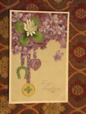 Vintage Postcard To My Sweetheart, 4 Leaf Clover, Horseshoe, Purple Violets