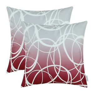 """2Pcs Gray Burgundy Cushion Cover Pillow Shell Gradient Ombre Circle Rings 18x18"""""""