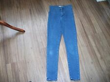 TopShop MOTO Joni Blu Indaco. alta wasited Skinny elastico jeans W25 & L28.